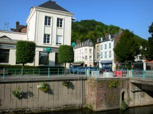 Pont-Audemer - River Risle and facades of the town