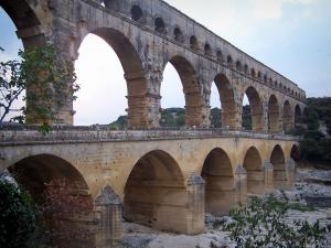 Pont du Gard bridge - Arcades (arches) of the Roman aqueduct (ancient monument); in the town of Vers-Pont-du-Gard