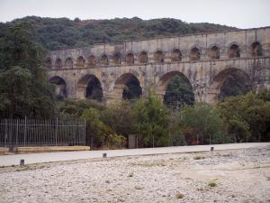 Pont du Gard bridge - Roman aqueduct (ancient monument); in the town of Vers-Pont-du-Gard