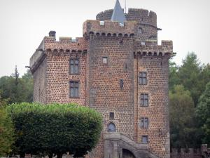Pontgibaud castle - Dauphin castle, medieval fortress made of lava stone; in the Auvergne Volcanic Regional Nature Park