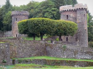 Pontgibaud castle - Towers of the Dauphin castle and trees