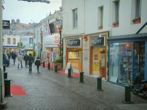 Pornic - Shops of a shopping street in the old town