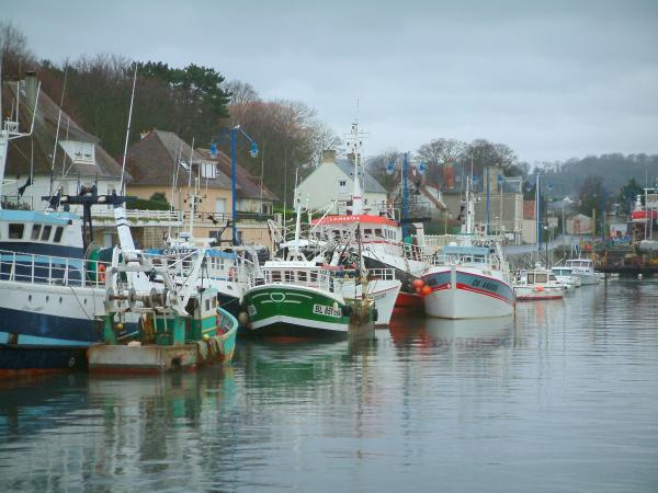Port-en-Bessin - Houses, boats and trawlers in the fishing port