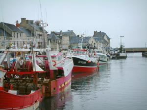 Port-en-Bessin - Houses and fishing port with its moored trawlers (boats)