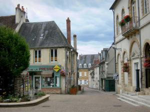 Prémery - Town-Hall of Prémery and facades of houses in the town