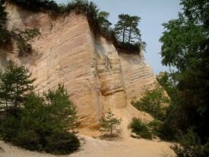 Provençal colorado - White sand, trees and small cliffs (former ochre careers of Rustrel)