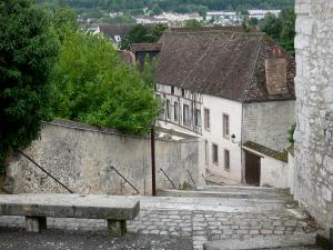 Provins - Stone bench with a view of the rooftops of the city