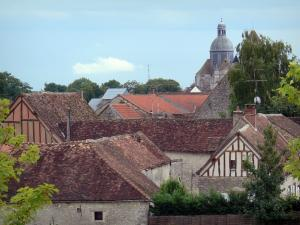 Provins - Roofs of houses in the upper town and dome of the Saint-Quiriace collegiate church in background