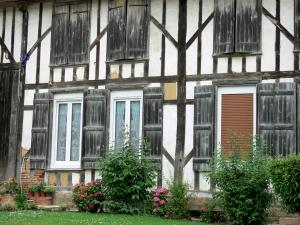 Puellemontier - Half-timbered facade of a house in the village; in the Pays du Der area