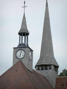 Puellemontier - Bell tower and clock of the Notre-Dame-en-sa-Nativité church; in the Pays du Der area