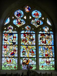 Puellemontier - Inside the Notre-Dame-en-sa-Nativité church: stained glass window of the Tree of Jesse - 16th century