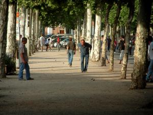 Rabastens - Walk lined with plane trees with pétanque players