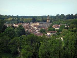 Rancon - View of houses and the fortified church of the village, in Basse-Marche (Gartempe valley)