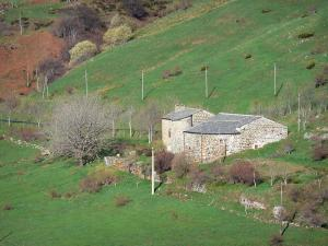 Regional Natural Park of the Ardèche Mountains - Stone building surrounded by trees and meadows