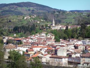 Regional Natural Park of the Ardèche Mountains - View of the church bell tower and rooftops of the town of Lamastre