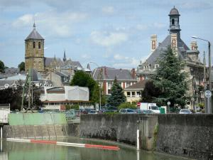 Rethel - River Aisne, bell tower of the Saint-Nicolas church and steeple of the town hall