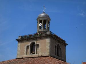 Revel - Medieval fortified town: bell tower of the covered market hall, in the Cocagne land
