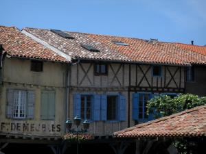Revel - Medieval fortified town: facades of houses of the central square, in the Cocagne land