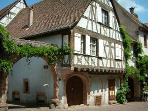 Riquewihr - Half-timbered house and creepers