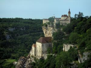 Rocamadour - Castle, cliff, sanctuaries and houses of the village, in the Regional Nature Park of the Quercy Limestone Plateaus