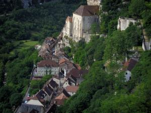 Rocamadour - Sanctuaries, houses of the village and trees, in the Regional Nature Park of the Quercy Limestone Plateaus
