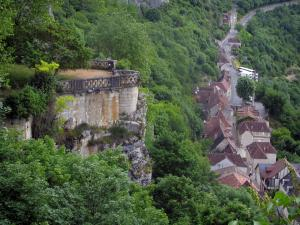 Rocamadour - Viewpoint, trees and houses of the village, in the Regional Nature Park of the Quercy Limestone Plateaus