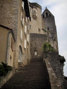 Rocamadour - Main staircase of the pilgrims leading to the seven sanctuaries, in the Regional Nature Park of the Quercy Limestone Plateaus