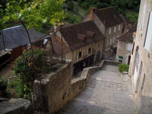 Rocamadour - Main staircase of the pilgrims with view of the houses of the village, in the Regional Nature Park of the Quercy Limestone Plateaus