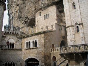 Rocamadour - Notre-Dame chapel (on the right), Saint-Michel chapel (in the middle) and former Episcopal palace (on the left) home to the Sacred Art museum, in the Quercy