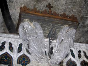 Rocamadour - Inside of the Notre-Dame chapel (miracles chapel): two carved angels