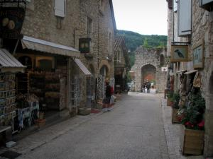 Rocamadour - Street of the village with stone houses, shops and Hugon gateway, in the Regional Nature Park of the Quercy Limestone Plateaus