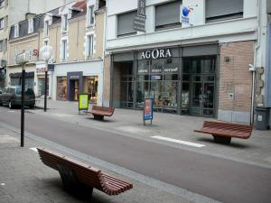 La Roche-sur-Yon - Benches, houses and shops of the Georges Clemenceau street