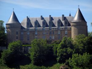Rochechouart castle - Castle home to the Contemporary Art museum and trees, in the Périgord-Limousin Regional Nature Park