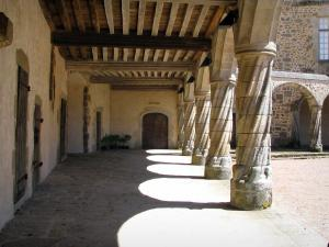 Rochechouart castle - Columns of the arcaded gallery of the castle