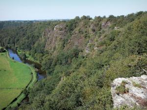 Roches de Ham rocks - Rocky cliff, trees, the River Vire and meadows along the water in the Vire valley