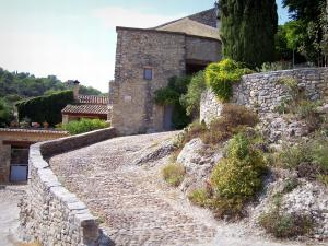 La Roque-sur-Cèze - Sloping paved alley and stone house