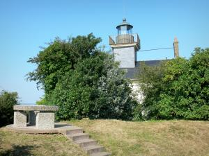 La Roque headland - La Roque lighthouse and viewpoint indicator; in the Norman Seine River Meanders Regional Nature Park
