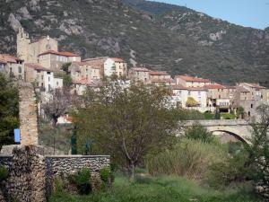 Roquebrun - Church and houses of the village, bridge, trees and hills, in the Orb valley, in the Upper Languedoc Regional Nature Park