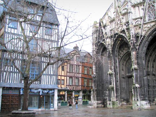 Rouen - Barthélemy square, Saint-Maclou church of Flamboyant Gothic style, tree and timber-framed houses