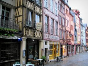 Rouen - Timber-framed houses and cafe terraces