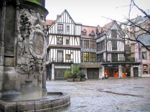 Rouen - Fountain of the Saint-Maclou church with view of the Barthélemy square and its timber-framed houses