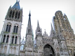 Rouen - Towers of the Notre-Dame cathedral of Gothic style