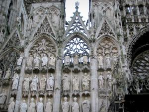 Rouen - Facade of the Notre-Dame cathedral of Gothic style