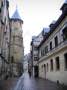 Rouen - Tower of the archbishop's palace, narrow street, and timber-framed houses