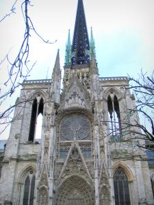 Rouen - Facade and spire of the Notre-Dame cathedral of Gothic style, branches of trees