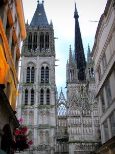 Rouen - Notre-Dame cathedral of Gothic style and buildings of the city