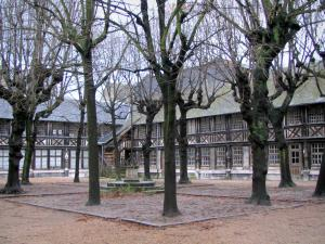 Rouen - Aître Saint-Maclou: inner courtyard with trees, calvaire, and timber-framed buildings