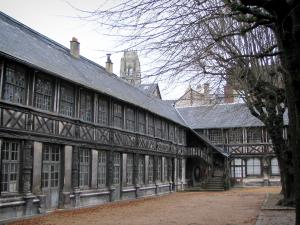 Rouen - Aître Saint-Maclou: inner courtyard, trees, and timber-framed buildings