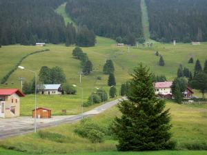 Les Rousses - Ski resort in the summer: road lined with lampposts, houses, meadows (ski trails in the winter), chairlift (ski lift) and spruces (trees); in the Upper Jura Regional Nature Park
