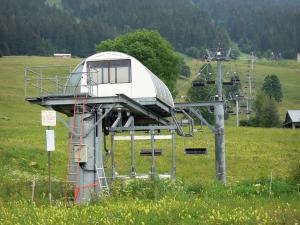 Les Rousses - Ski resort in the summer: chairlift (ski lift), wild flowers, alpine pastures, trees and spruces; in the Upper Jura Regional Nature Park